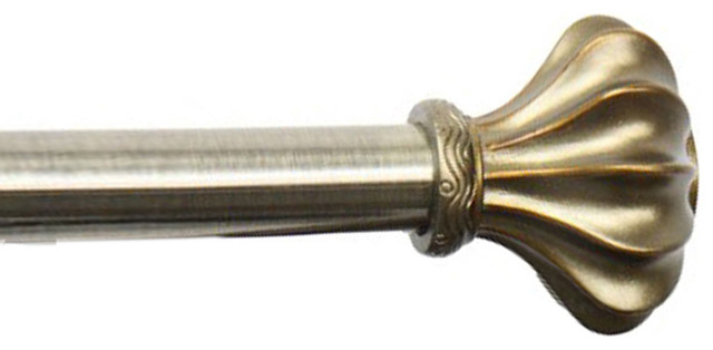 Rod Desyne Home Decorative Flair Curtain Rod 48-84 Inch, Antique Gold.