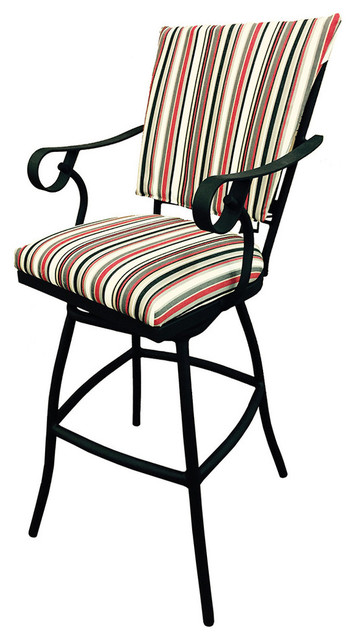 Jenna Red Linen 30inch Bar Height Outdoor Swivel Bar Stool, Red Linen.