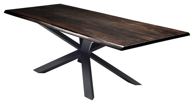 112 L Jess Dining Table Rustic Live Edge Solid Oak Brushed Stainless Steel
