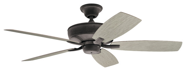 "52"" Monarch Ii Patio Fan, Weathered Zinc/weathered White/walnut Blade."