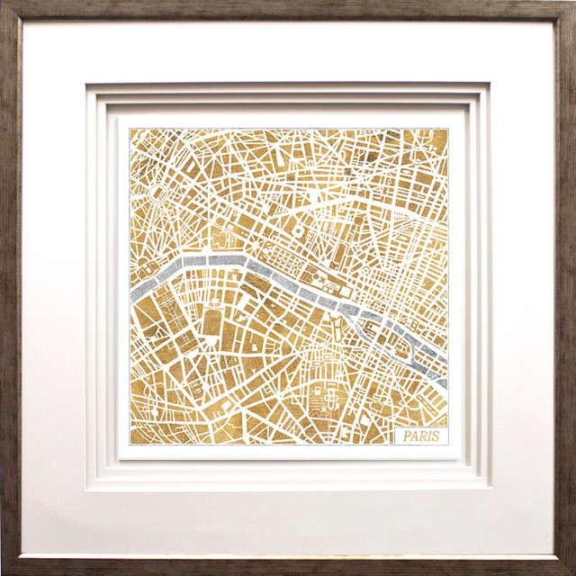 Gilded Paris Map Artwork By Laura Marshall Antique Silver Molding