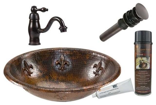 Mediterranean Bathroom Sinks: Premier Copper Products Bsp3_Lo19Rfldb Combination