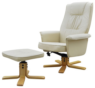 Cream White TV Armchair Recliner Artificial Leather With Footstool