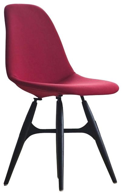 ZigZag Pop Chair, Fuchsia Leather, Black Metal Cross, Stained Black Wood Legs