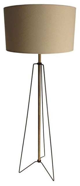 50s French Wire & Brass Hairpin Tripod Floor Lamp