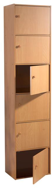 Veronica 6-Door Utility Cabinet With Knob Handle, Beech.