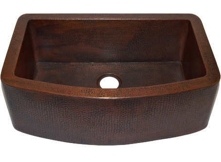Farmhouse Copper Sink With Curved Apron.