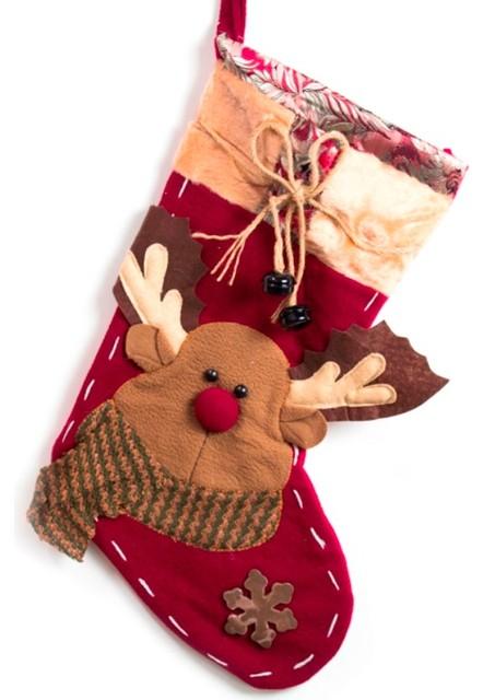 "Embroidered Christmas Stockings, 19"" Fleece Reindeer Stockings With Jingle Bells"