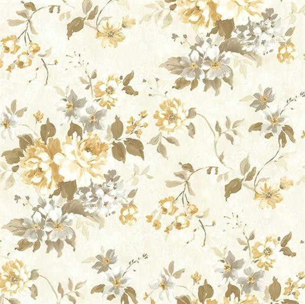Brewster Rosemore Yellow Eloise Floral Wallpaper, Single Roll.