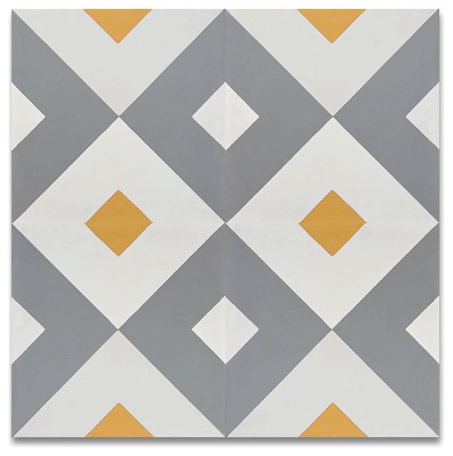 "8""x8"" Jadida Handmade Cement Tile, Yellow And Gray, Set Of 12."