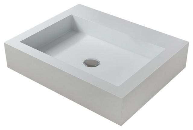 Polystone Square Vessel Bathroom Sink, Matte White, No Faucet.
