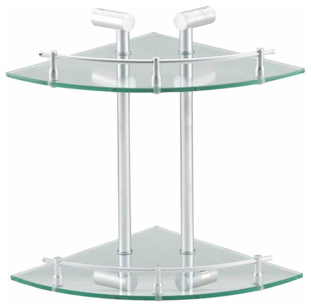 bathroom shelving frosted glass stainless 2 tier corner. Black Bedroom Furniture Sets. Home Design Ideas