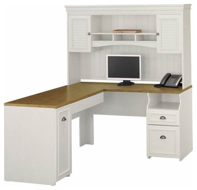 "Bush Fairview 60"" L-Shape Computer Desk With Hutch, Antique White."