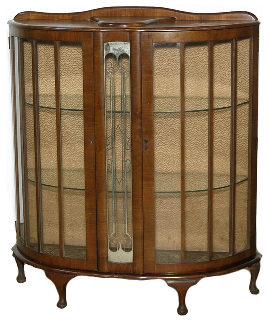 Consigned Circa 1930 Antique Walnut Art Deco Barget Curio Display Cabinet  traditional-china-cabinets - Antique - Consigned Circa 1930 Antique Walnut Art Deco Barget