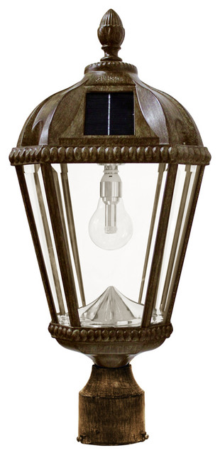 Royal Solar Post Lamp, Weathered Bronze.