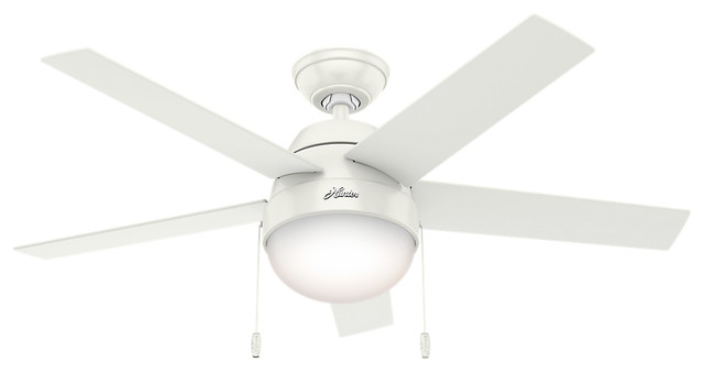 "Hunter 46"" Anslee Fresh White Ceiling Fan With Light."
