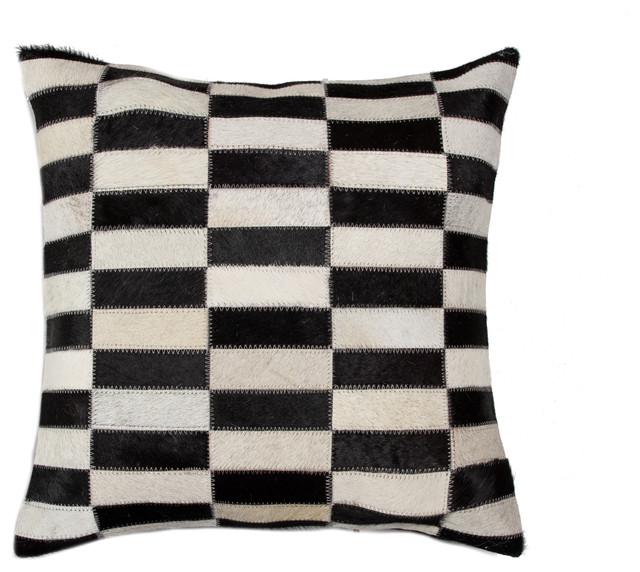 Torino Linear Cowhide Pillow Black White