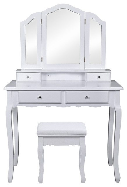 Dressing Table Set With Tri-fold Mirror and Cushioned Stool, 4 Storage Drawers