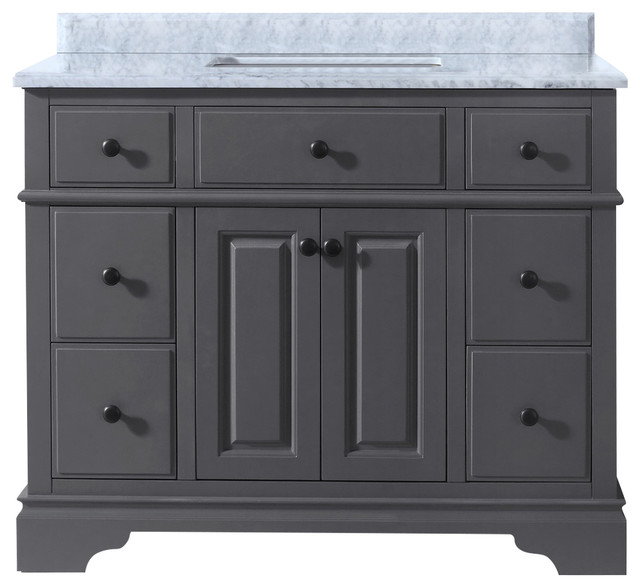 Quincy Single Bathroom Vanity Transitional Bathroom - 42 gray bathroom vanity