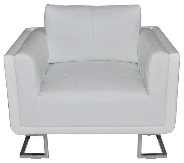 Vidaxl Black Luxury Cube Armchair With Chrome Feet
