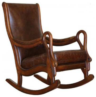 Shop Houzz Artefac Distressed Leather Rocking Chair
