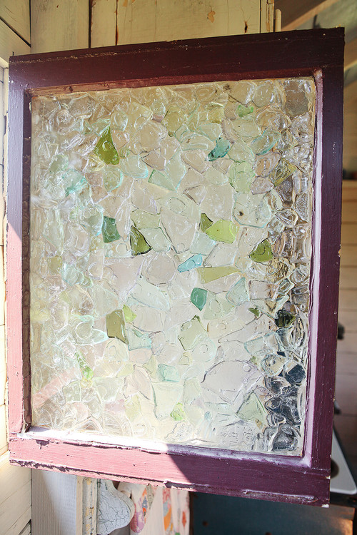 How Was The Sea Glass Held To The Window Or Held Together