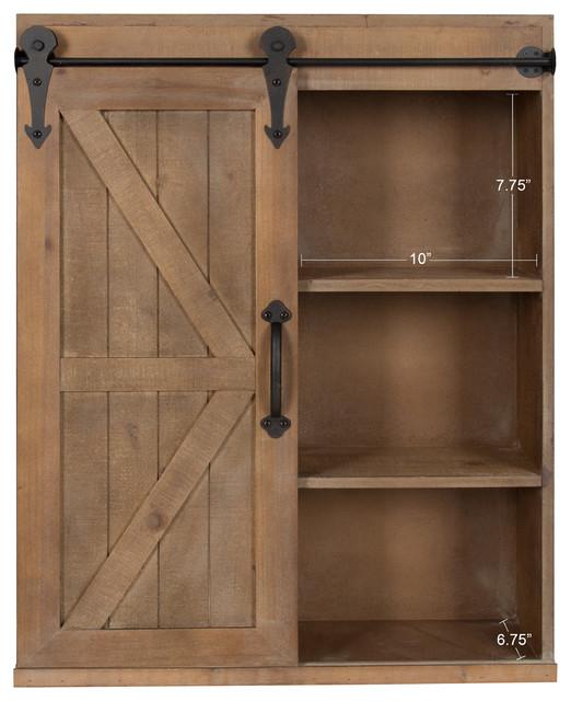Wood Wall Storage Cabinet With Sliding Barn Door - Farmhouse - Storage Cabinets - by Uniek Inc.