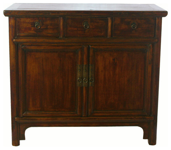 Consigned Vintage, Countryside 3 Drawer Chinese Cabinet  Asian Accent Chests And