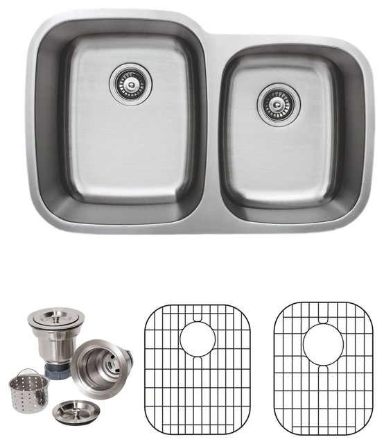 Wells Sinkware 32-Inch 60/40 Double Bowl Kitchen Sink, Small Bowl on the  Right