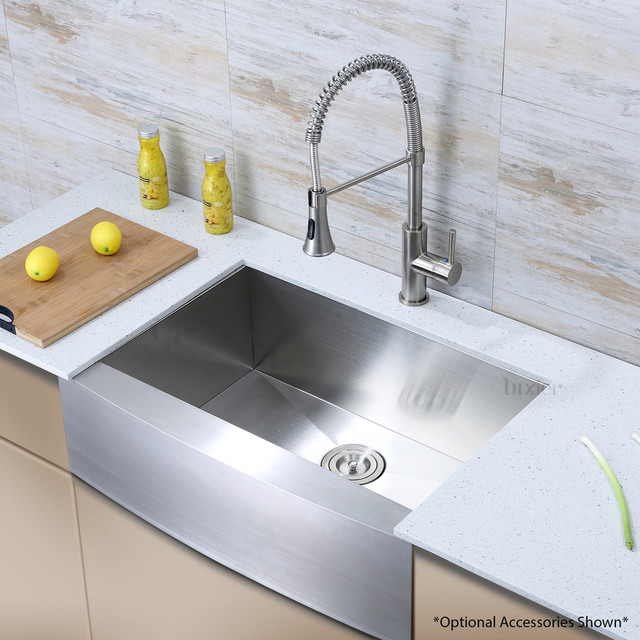 Luxier Stainless Steel Farmhouse Apron Single-Bowl Sink, Afs33-18z