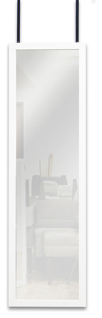 Mirrotek Full Length Over The Door Wall Mounted Dressing Mirror, White.