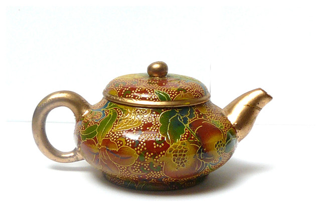 Chinese Zisha Red Glaze Floral Painting Teapot