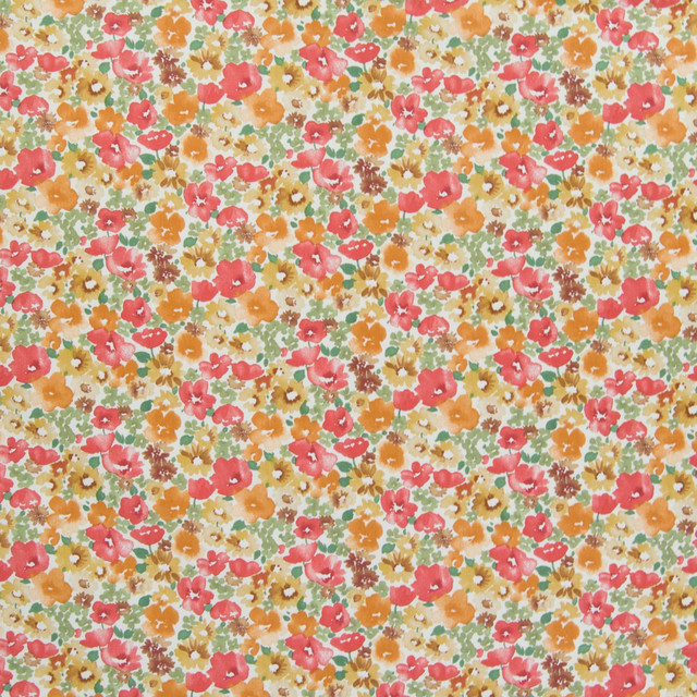 Poppy Orange Floral Print Made In Usa Upholstery Fabric By The Yard