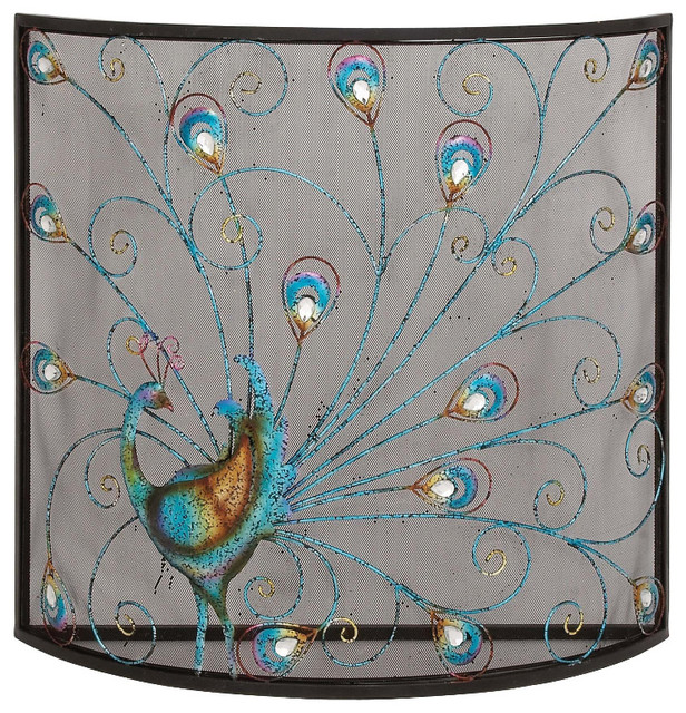 Classic and lovely inspired bird metal fireplace screen living dining and family room home accent decor
