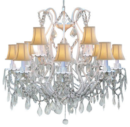 White Wrought Chandelier With White Shades