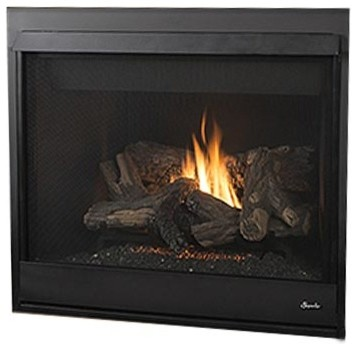 "Superior 40"" Direct Vent Black Interior Electronic Fireplace, Liquid Propane."