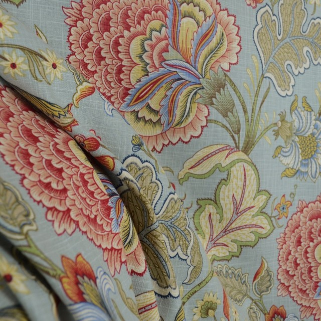 Meadowlark Surf Floral Blue Jacobean Fabric Traditional