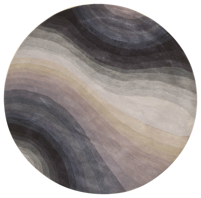 Hand-Tufted Wool Blue Contemporary Abstract Desertland Rug, 6&x27; Round.