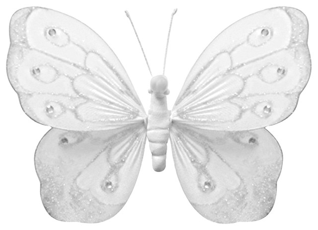 Hanging Butterfly Small White Shimmer Wall Ceiling Girls Room Decor