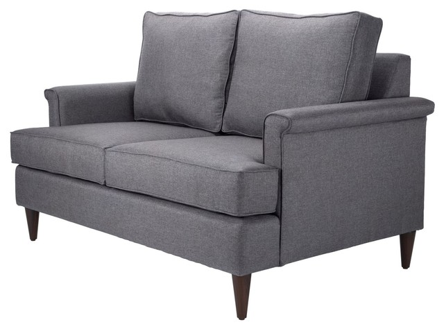 Modern Contemporary Loveseat Sofa, Dark Gray, Fabric
