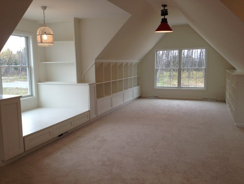 unfinished attic storage ideas - Bonus Room