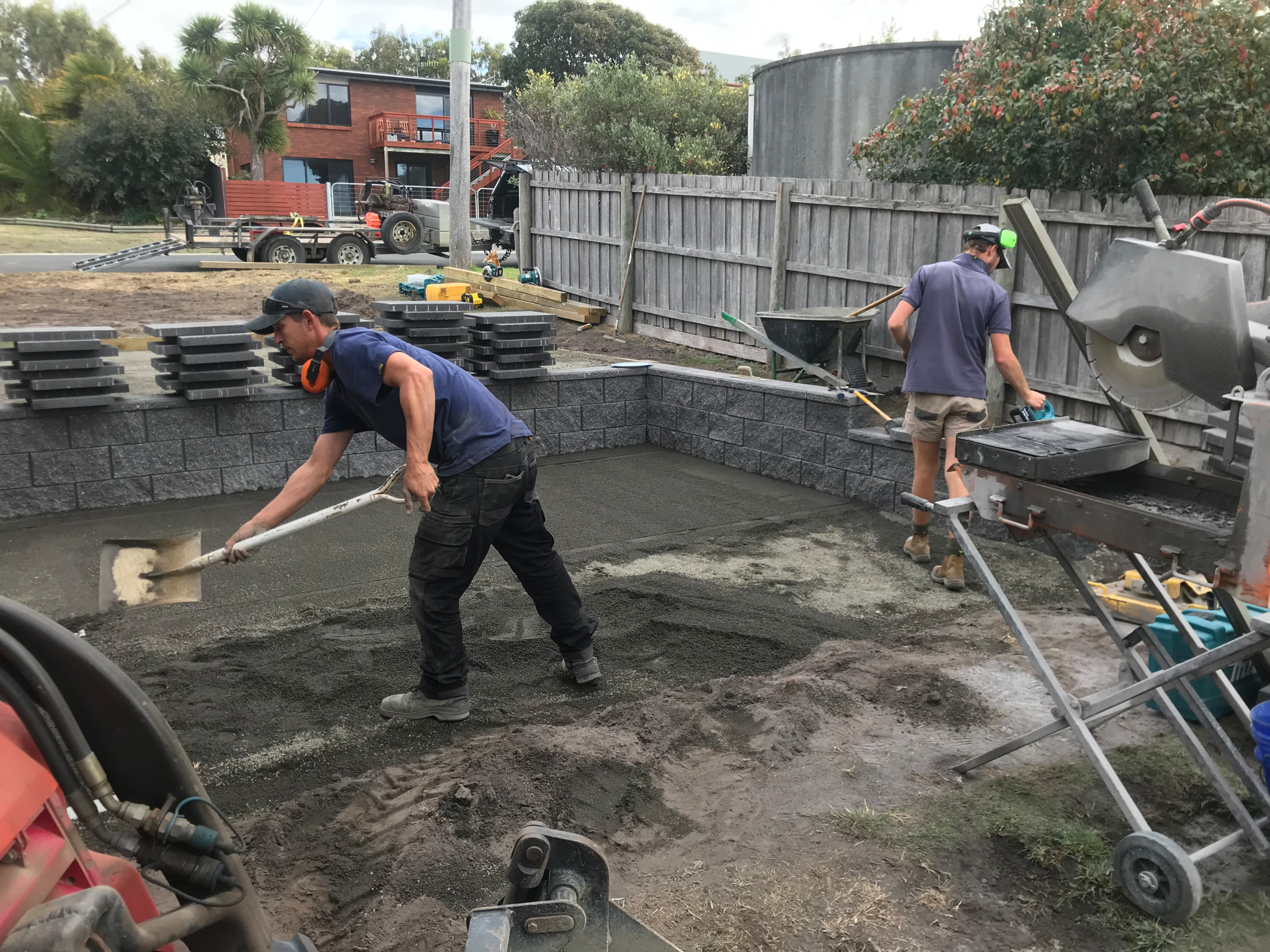 Four Mile Creek - Paving and retaining wall