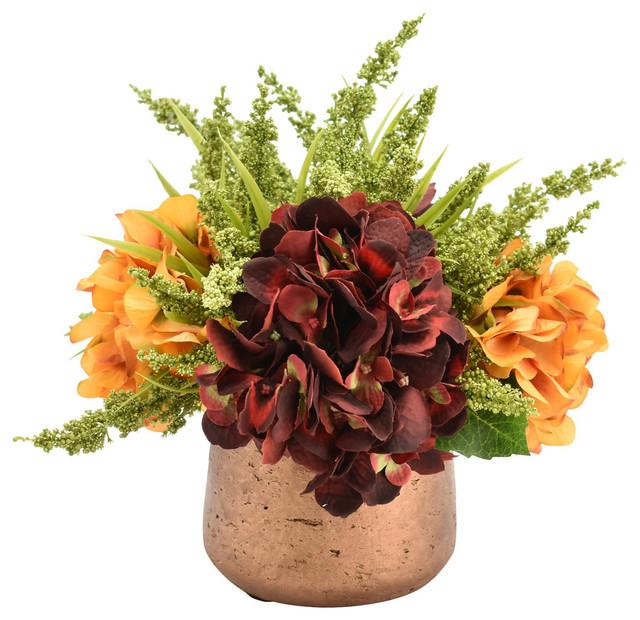 Hydrangeas In Copper Pot Contemporary Artificial Flower Arrangements By Creative Displays Inc Houzz