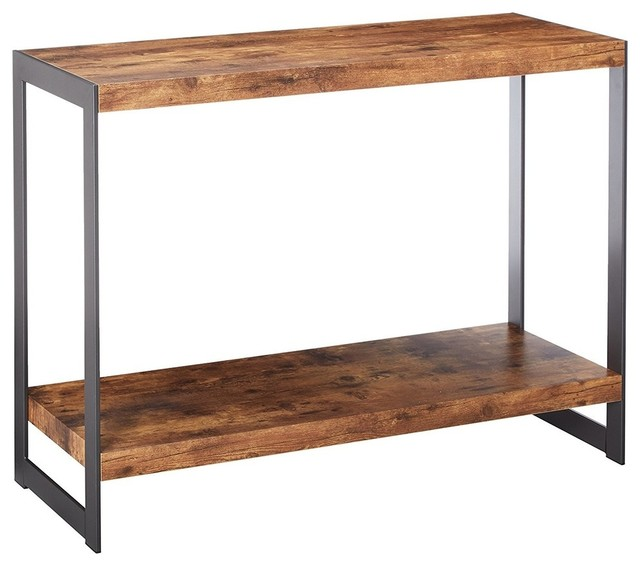 Rustic Antique Console Table In MDF And Metal Frame With Open Shelf For  Storage