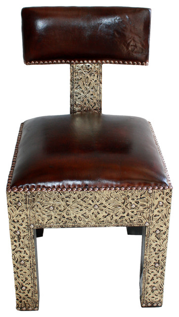 Moroccan Metal And Leather Chair