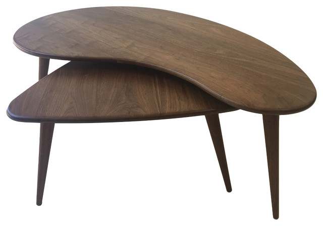 Mid Century Modern Nesting Kidney Bean And Guitar Pick Coffee Tables