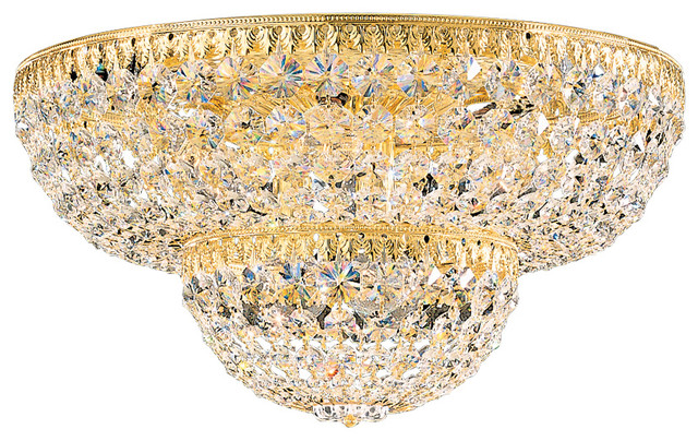 Petit Crystal 9-Light In Rich Auerelia Gold, Clear Spectra Crystal.