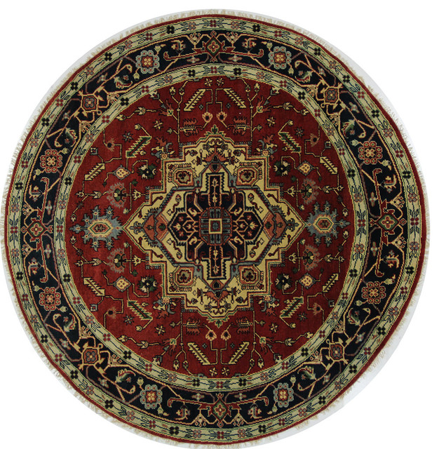 Fine Round Persian Bidjar Area Rug Hand Knotted Wool And: 8' Round Heriz Serapi Red/Navy Blue Border Oriental Hand