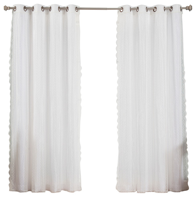 Dotted Tulle Lace And Nordic White Curtain Set