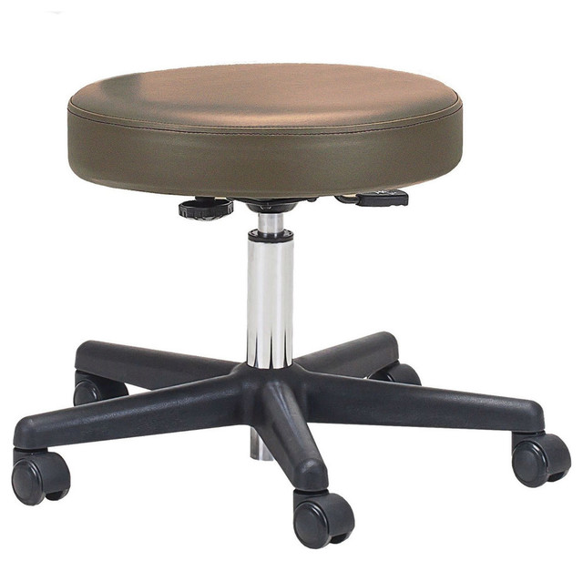 Adjustable Height Pneumatic Rolling Stool With Brown Padded Seat.